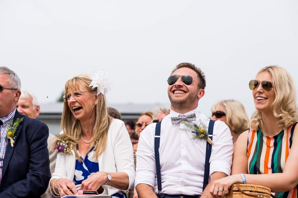 Inkersall Grange Farm Wedding - Same Sex Wedding Photography - Boho Tipi Wedding Ceremony Wedding Guest Reactions