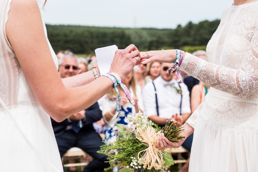 Inkersall Grange Farm Wedding - Same Sex Wedding Photography - Ring Exchange