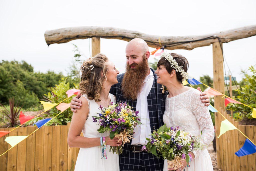 Inkersall Grange Farm Wedding - Same Sex Wedding Photography - Brides with Tartan Suited Best Man