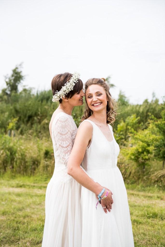 Inkersall Grange Farm Wedding - Same Sex Wedding Photography - Beautiful Boho Brides Natural Wedding Photography
