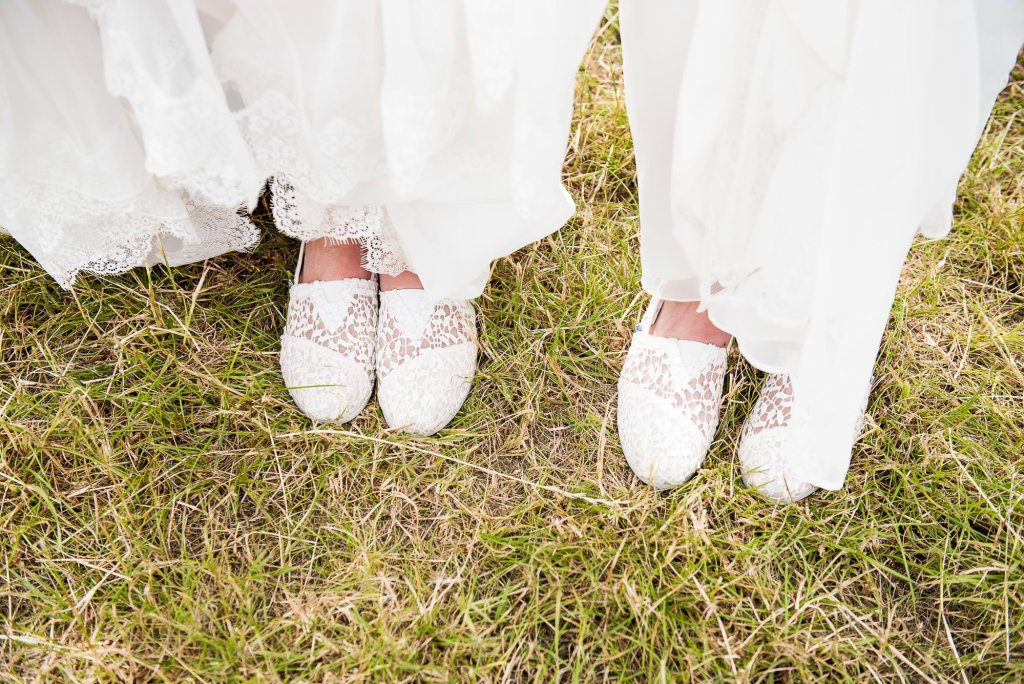 Inkersall Grange Farm Wedding - Same Sex Wedding Photography - Brides In White Lace TOMS