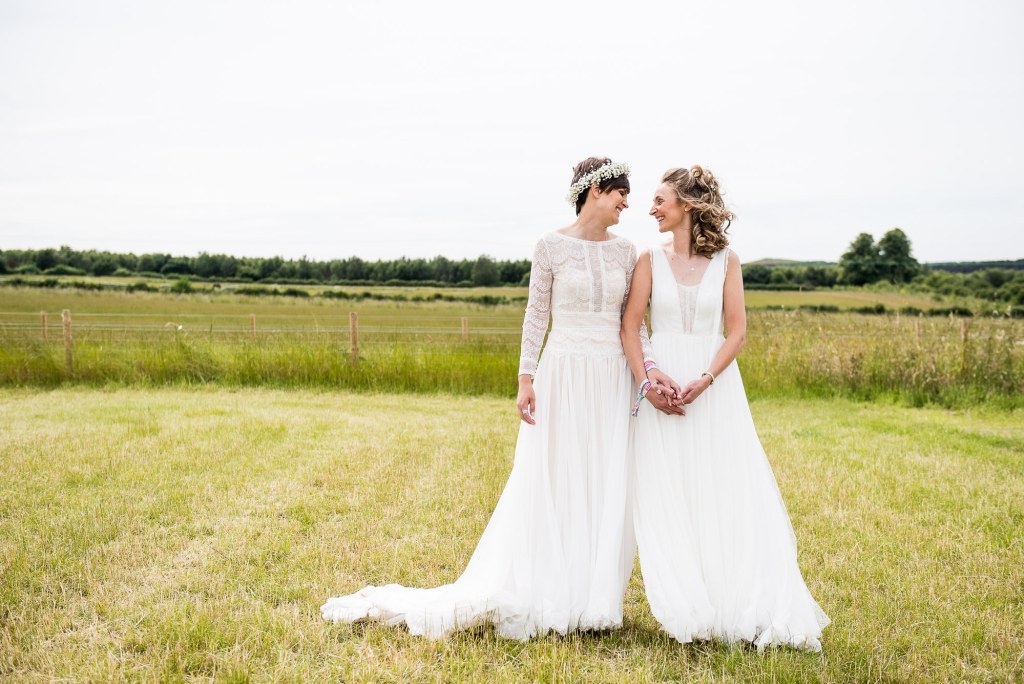 Inkersall Grange Farm Wedding - Same Sex Wedding Photography - Natural and Candid Bridal Wedding Portrait In Fields