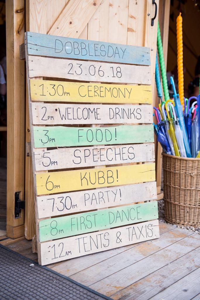 Inkersall Grange Farm Wedding - Same Sex Wedding Photography - Home Made DIY Running Order On Pallet Boards