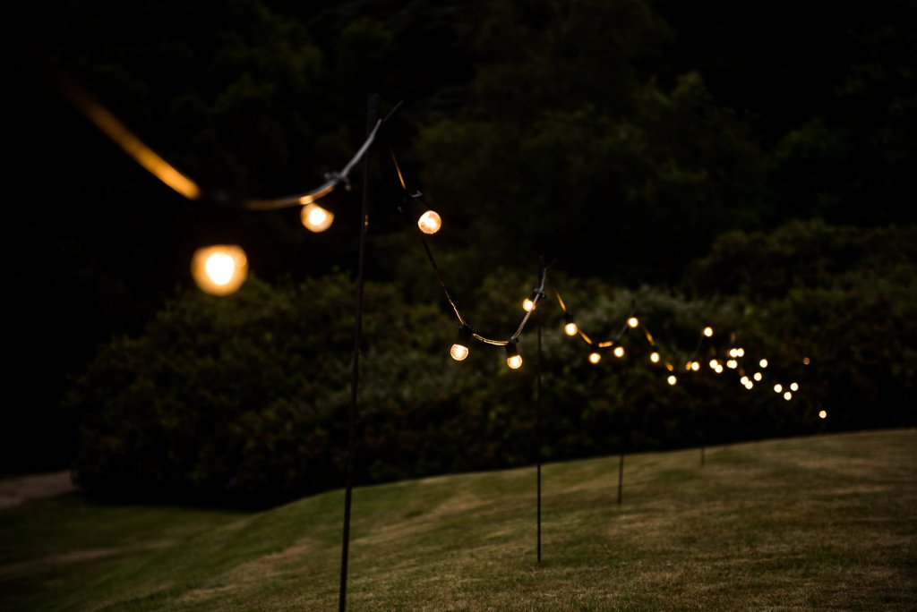 Outdoor Wedding Ceremony, Surrey Wedding Photography, Night Light Festoon Lights