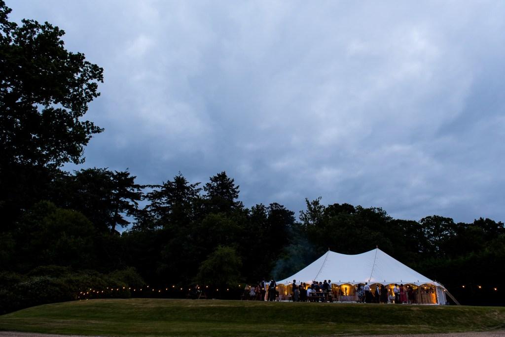 Outdoor Wedding Ceremony, Surrey Wedding Photography, Wedding Marquee at Night