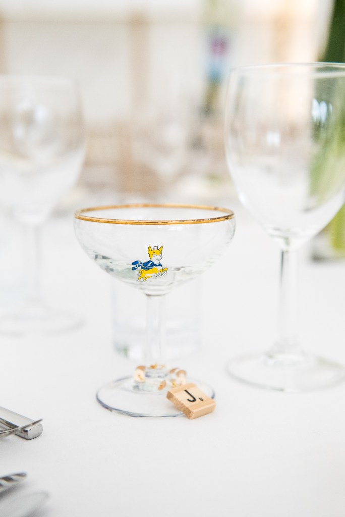 Outdoor Wedding Ceremony, Surrey Wedding Photography, Wedding Place Setting With Personalised Baby Cham Glasses
