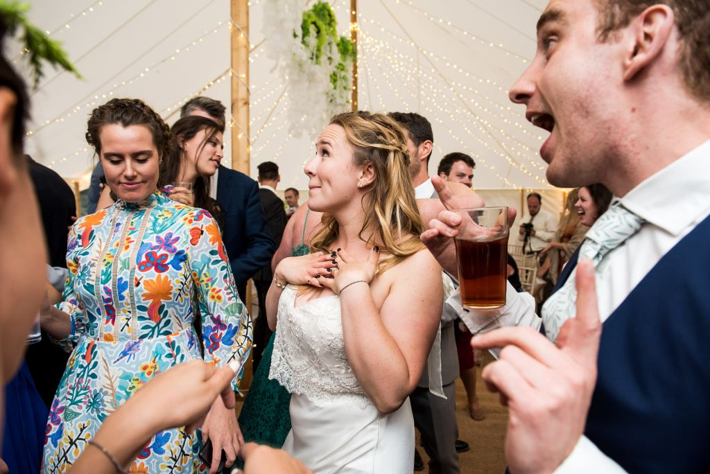 Outdoor Wedding Ceremony, Surrey Wedding Photography, Bride Enjoying Herself On The Dance Floor