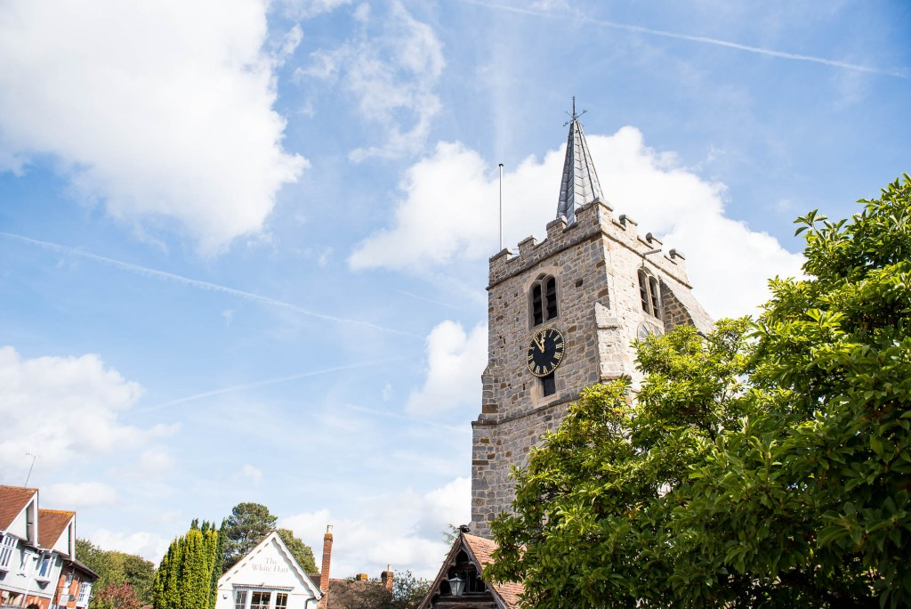Chobham Church in The Sunshine, Surrey Wedding Photography