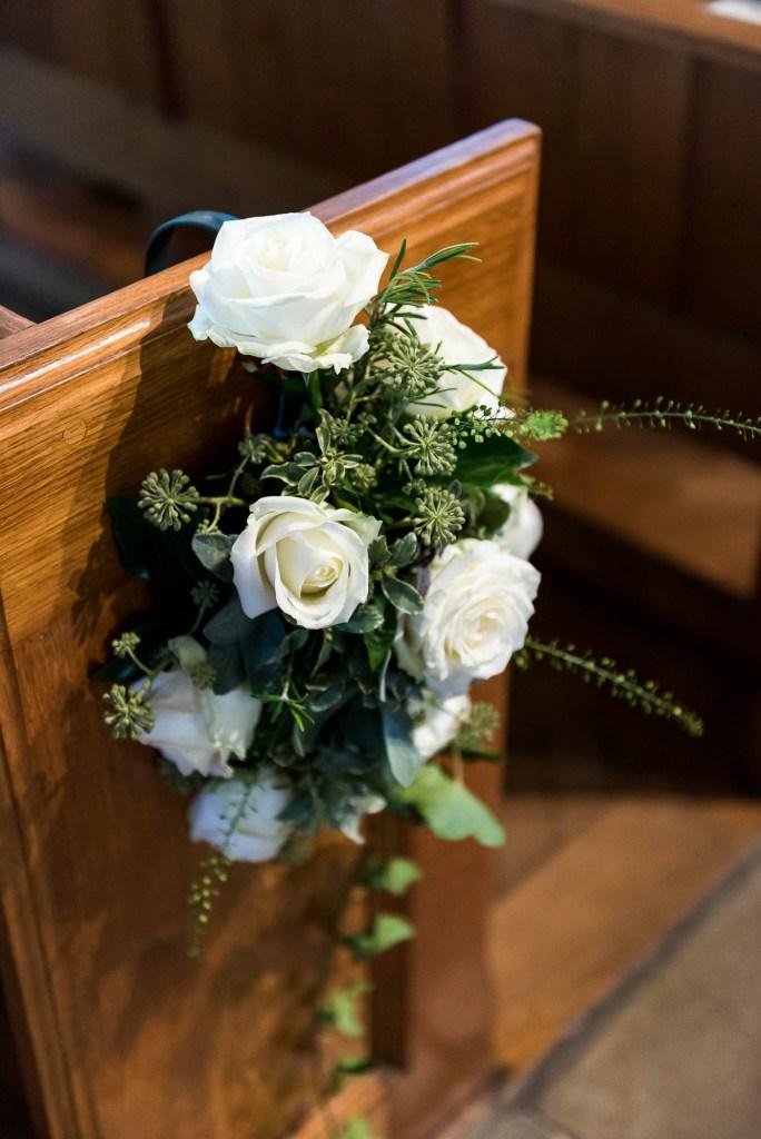 Outdoor Wedding Photography Surrey, Chobham Church Interior With Gorgeous White Flowers, Surrey Wedding Photography