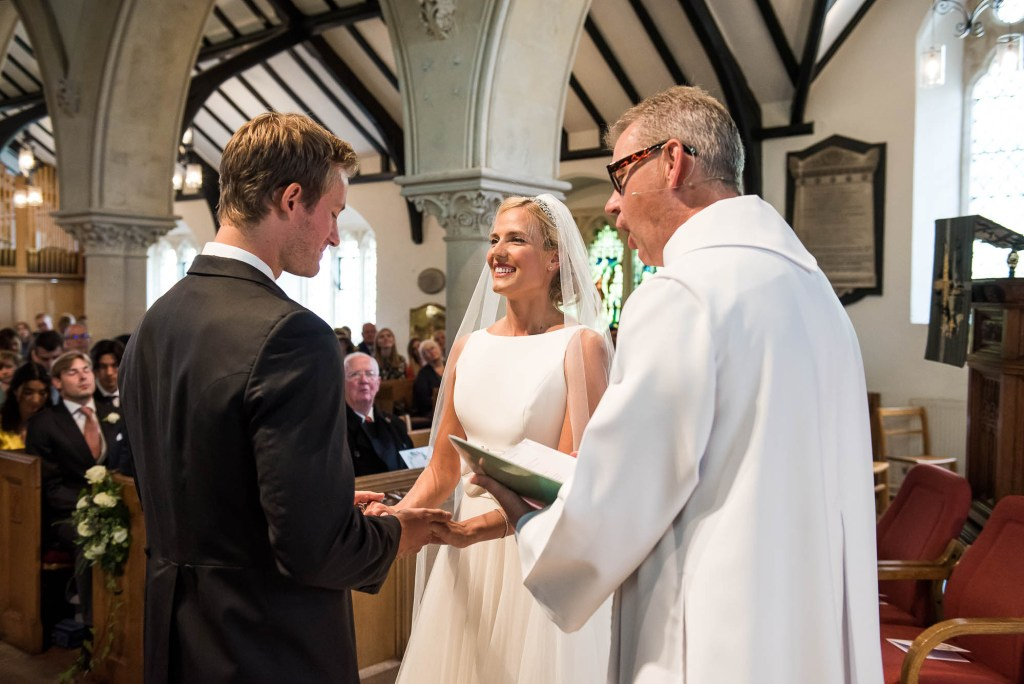 Outdoor Wedding Photography Surrey, Gorgeous Bride And Groom Say Their Vows In Chobham Church
