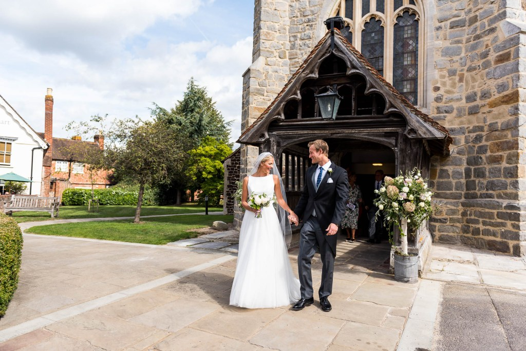 Outdoor Wedding Photography Surrey, Elegant Bride and Groom Leave Chobham Church, Jessica Grace Photography
