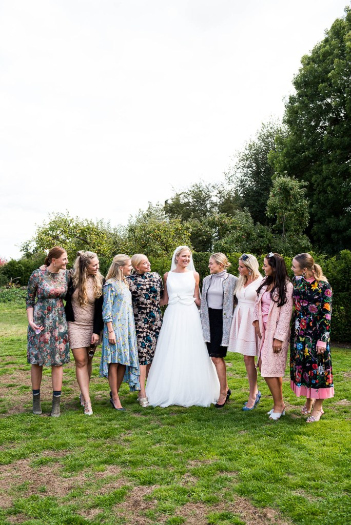 Outdoor Wedding Photography Surrey, Stunning Bride With Her Girlfriends
