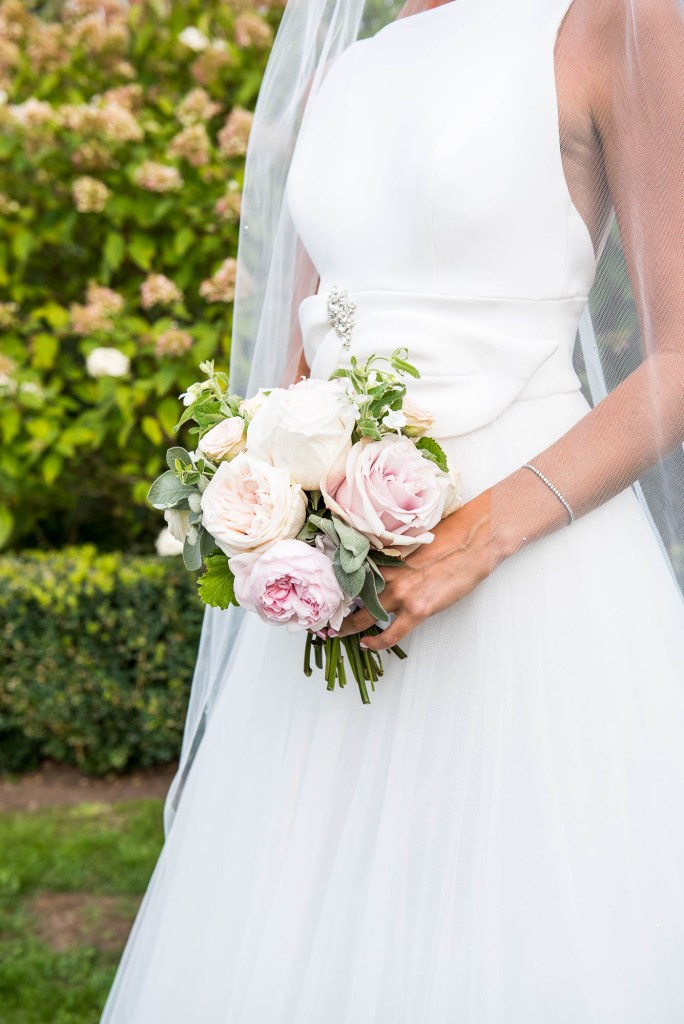 Outdoor Wedding Photography Surrey, Stunning Miss Bush Bride in Jesus Piero With Sheer Veil and Bouquet of White and Pink Roses