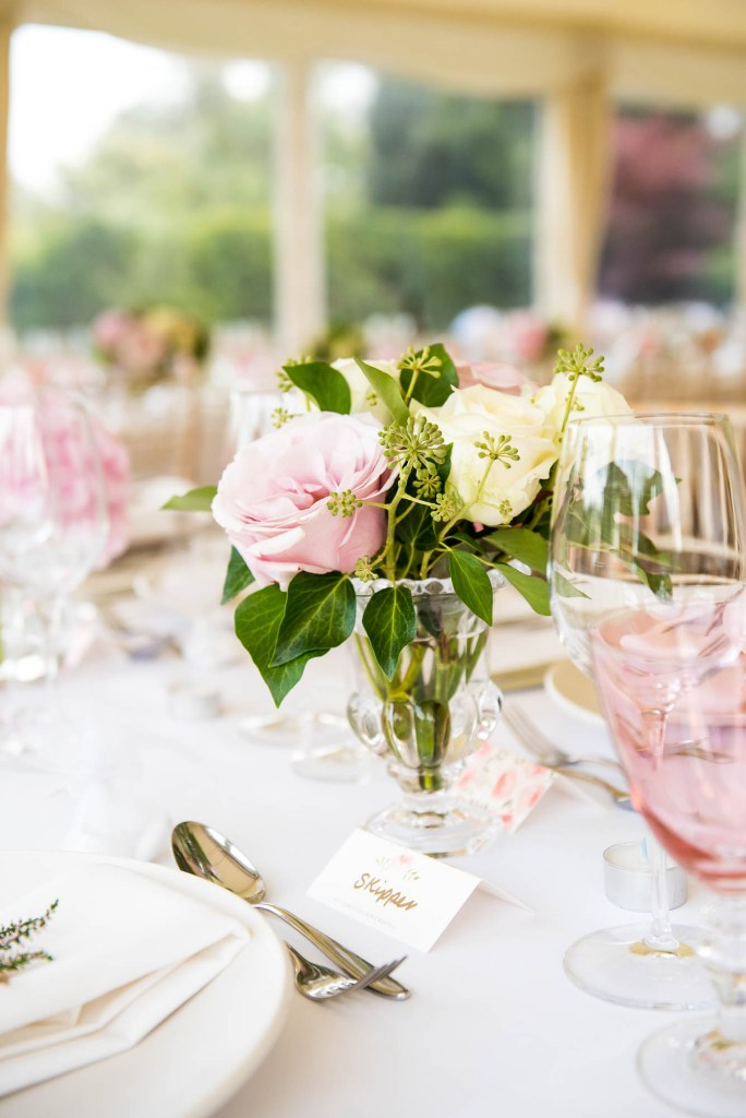 Outdoor Wedding Photography Surrey, Gorgeous White and Pink Rose Arrangement