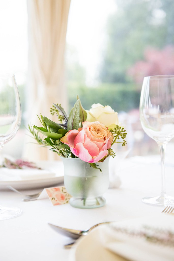Outdoor Wedding Photography Surrey, Gorgeous White and Pink Rose Arrangement By Rosie Orr, Surrey Wedding Florist