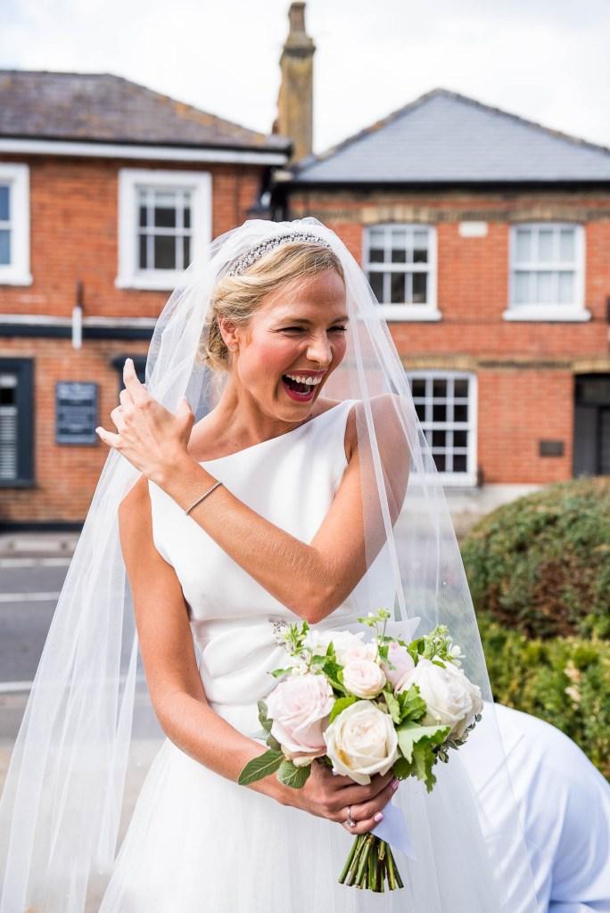 Gorgeous Bride Smiles As She Waits To Walk Down The Aisle