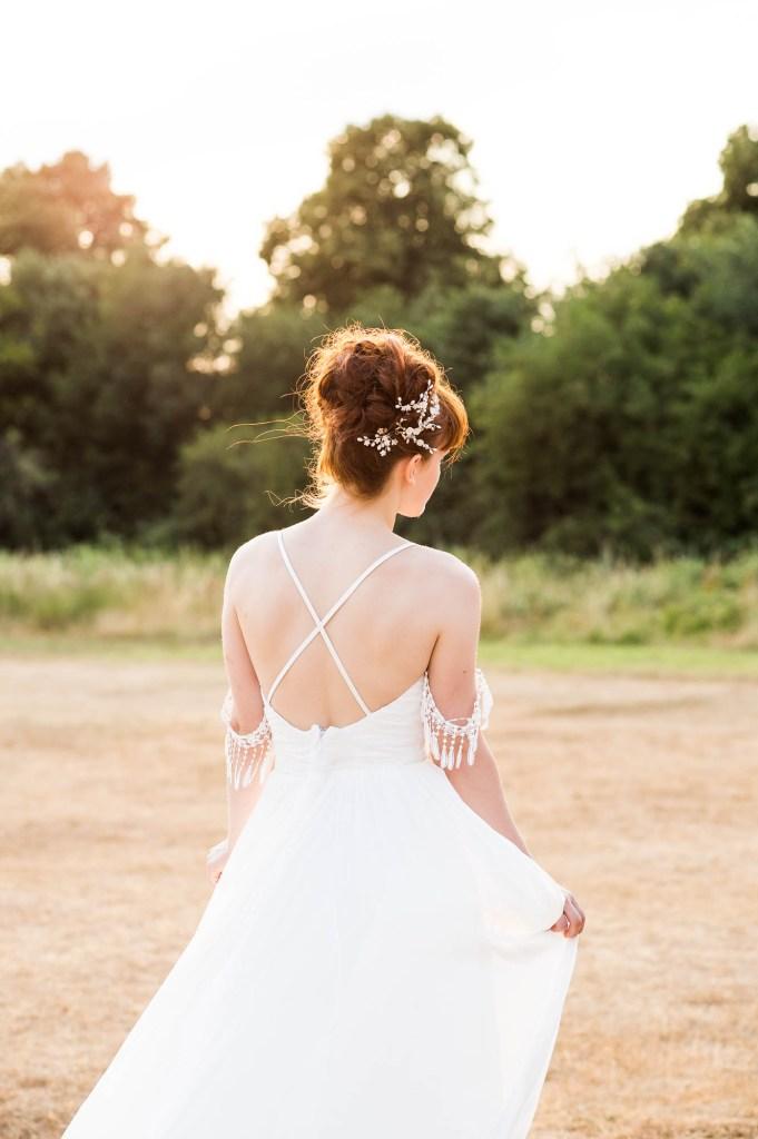 Miss Bush Bridal, Natural Wedding Photography, Boho Bride With Cross Straps on Boho Wedding Dress At Sunset