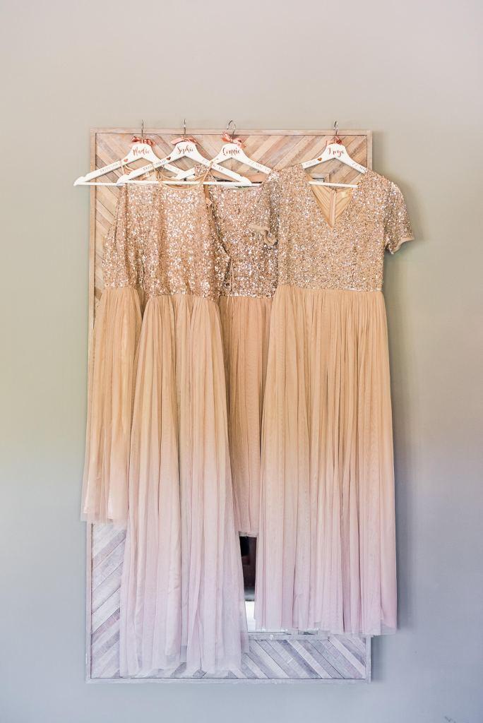 lgbt wedding photographer, Peach sequin matching bridesmaid dresses by ASOS