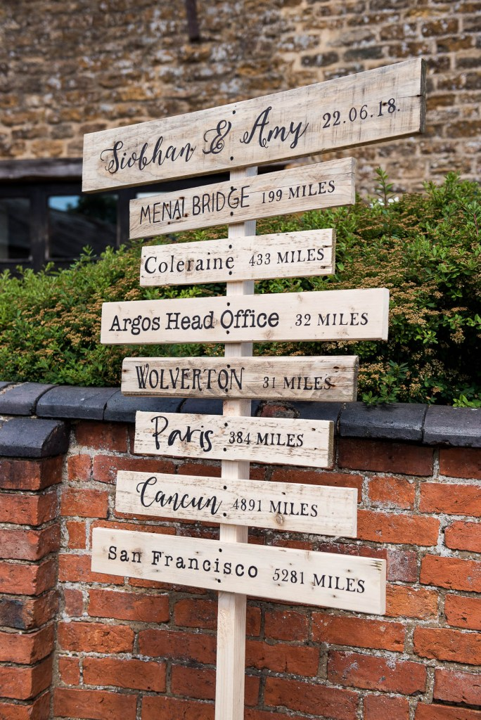 lgbt wedding photographer,  Bespoke wooden order of service sign for glorious outdoor wedding