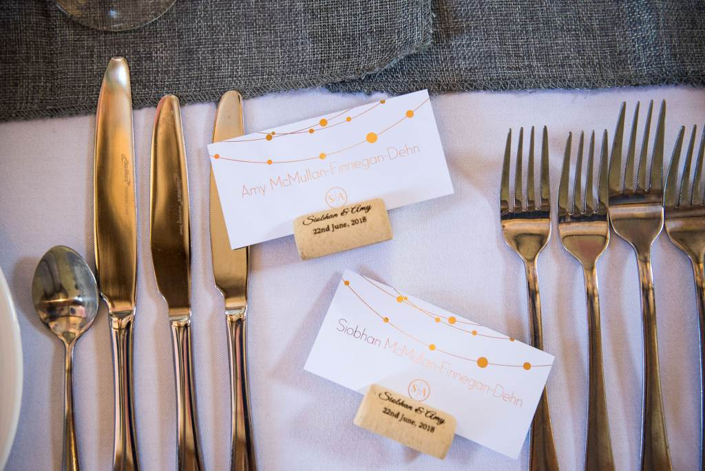lgbt wedding photographer, stylish wedding place names in gold calligraphy