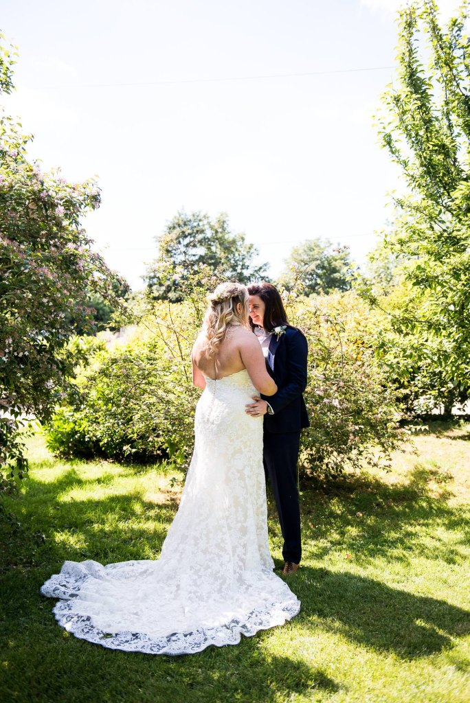lgbt wedding photographer, intimate portrait of same sex couple on their wedding