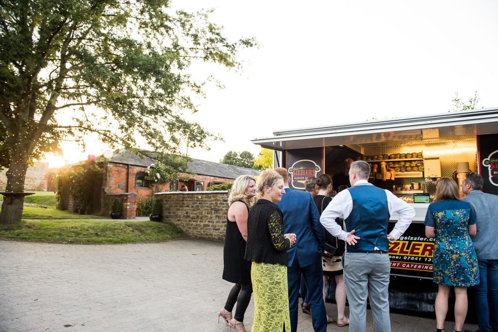 lgbt wedding photographer, wedding evening food with street food burger van
