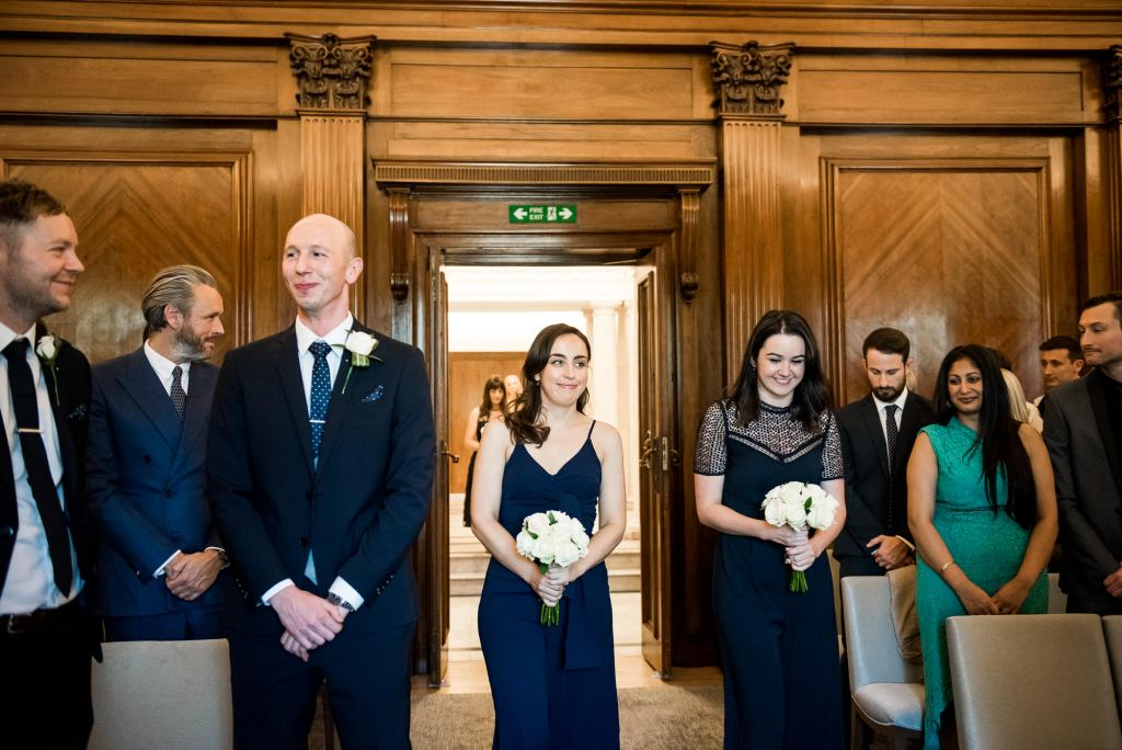 Old Marylebone Town Hall Wedding, bridal party entrance at London registry office wedding