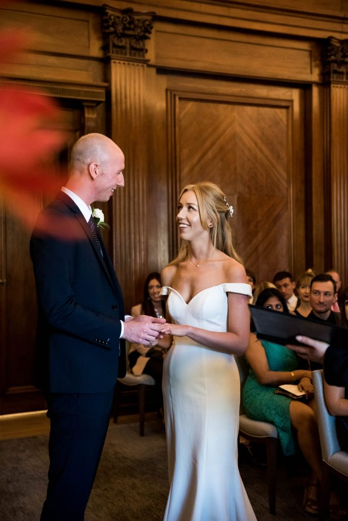 Old Marylebone Town Hall Wedding, bride and groom in wedding ceremony