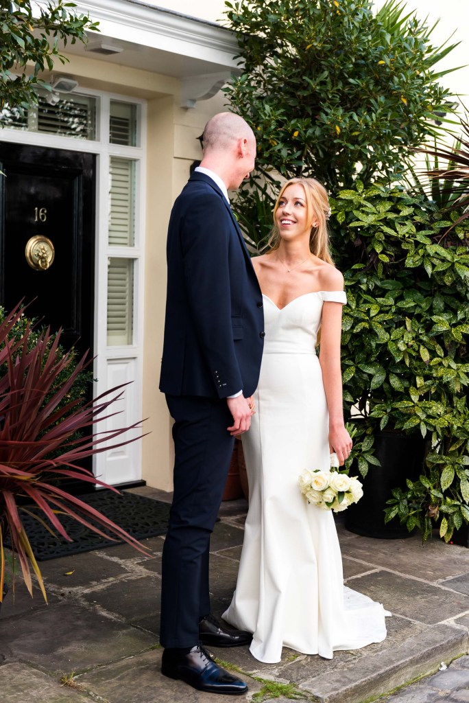 Old Marylebone Town Hall Wedding, relaxed couples portrait in London Mews