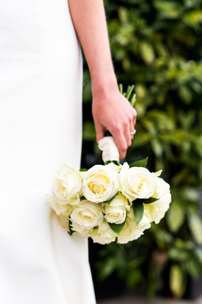 Old Marylebone Town Hall Wedding, chic and stylish bridal bouquet of white roses
