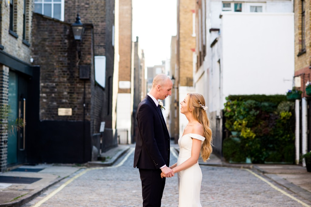 LGBT wedding photography, groom and bride in London mews couples portraits