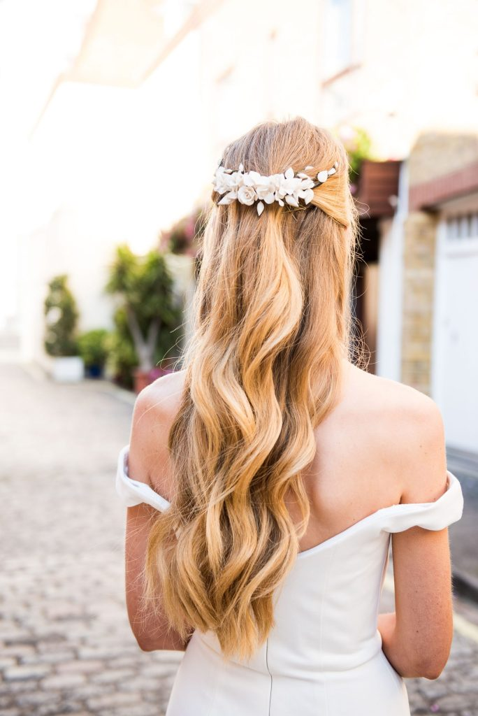 Old Marylebone Town Hall Wedding, bridal half up half down loose curled hair
