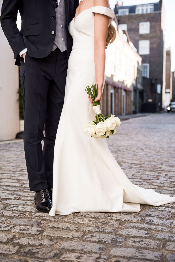 Old Marylebone Town Hall Wedding, bridal bouquet of white roses
