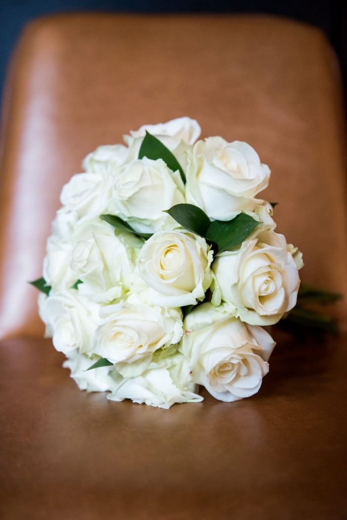 Old Marylebone Town Hall Wedding, white rose wedding flower bouquet from Marks and Spencer