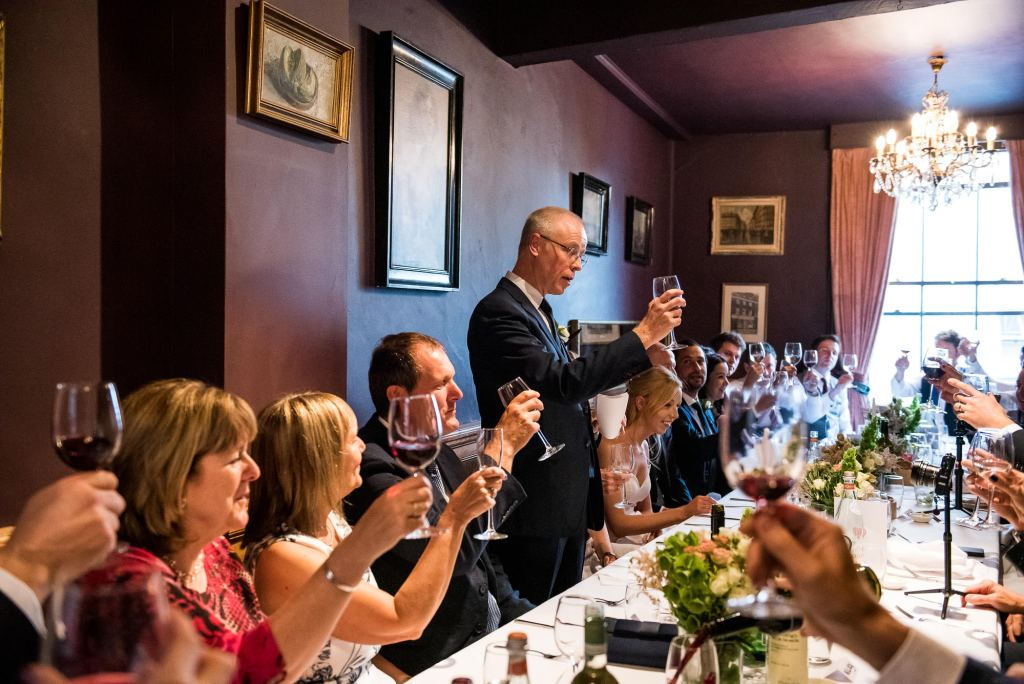 Old Marylebone Town Hall Wedding, wedding breakfast toast