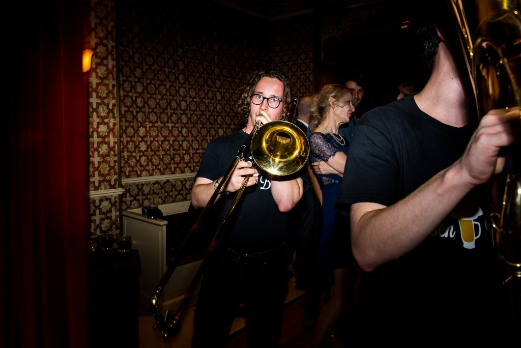 Old Marylebone Town Hall Wedding, fun wedding entertainment Horsen Brass