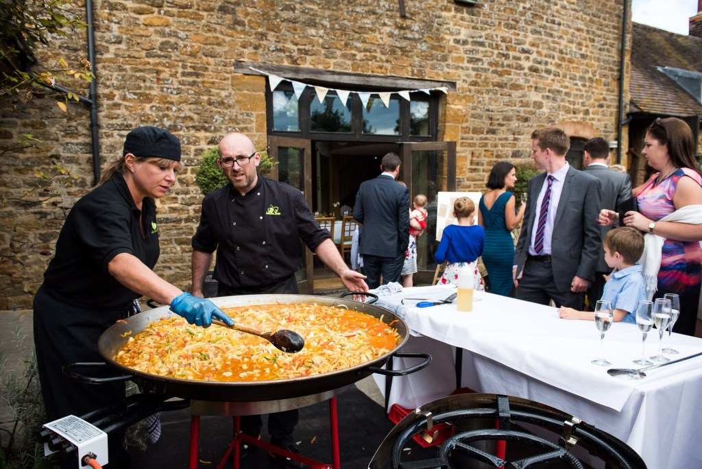 Outdoor paella wedding breakfast © Jessica Grace Photography