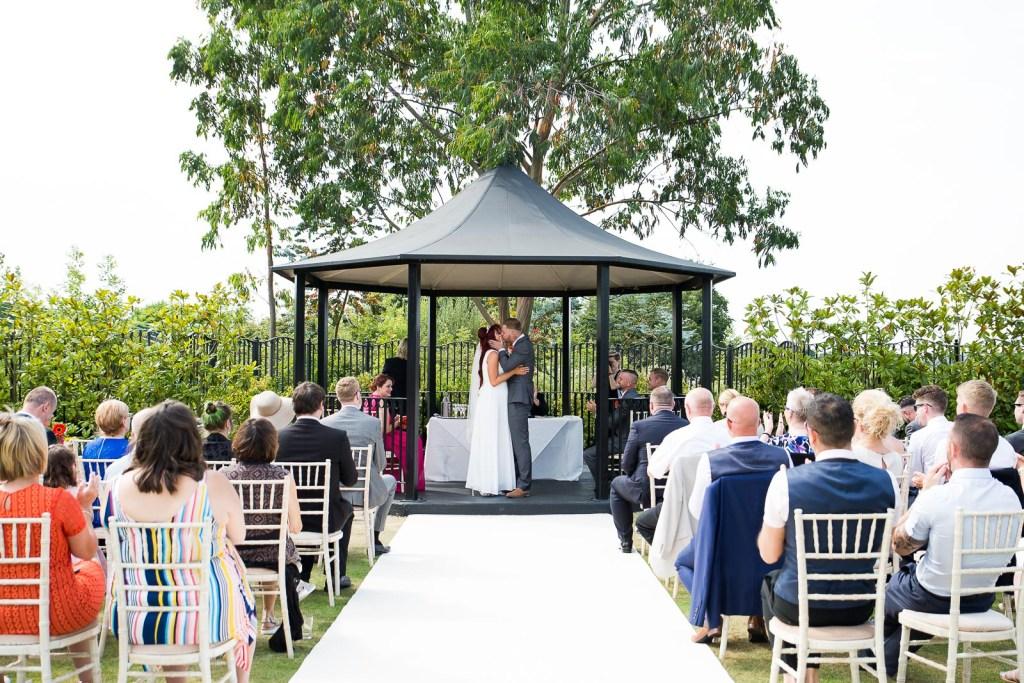 Outdoor wedding ceremony at Stockbrook Manor Essex © Jessica Grace Photography