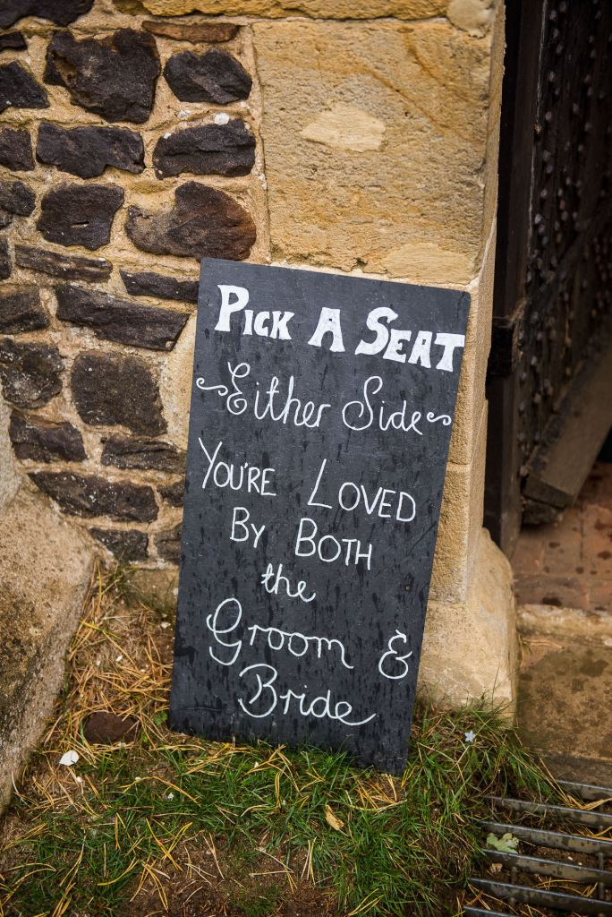 handwritten wedding sign