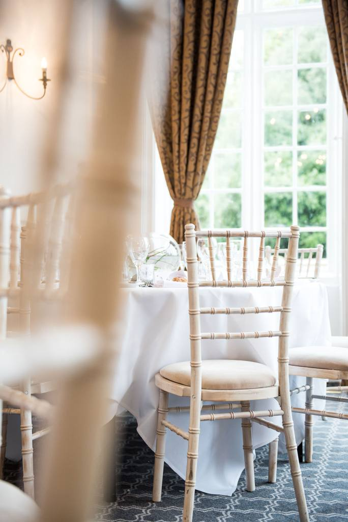 white wedding breakfast table at Horsley Towers