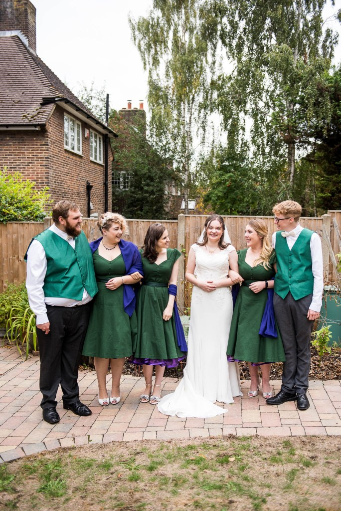 Relaxed and informal bridal party photography, Documentary wedding photographer surrey