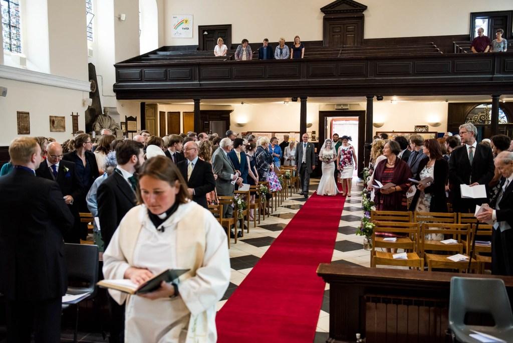 Bridal entrance into Guildford Holy Trinity Church