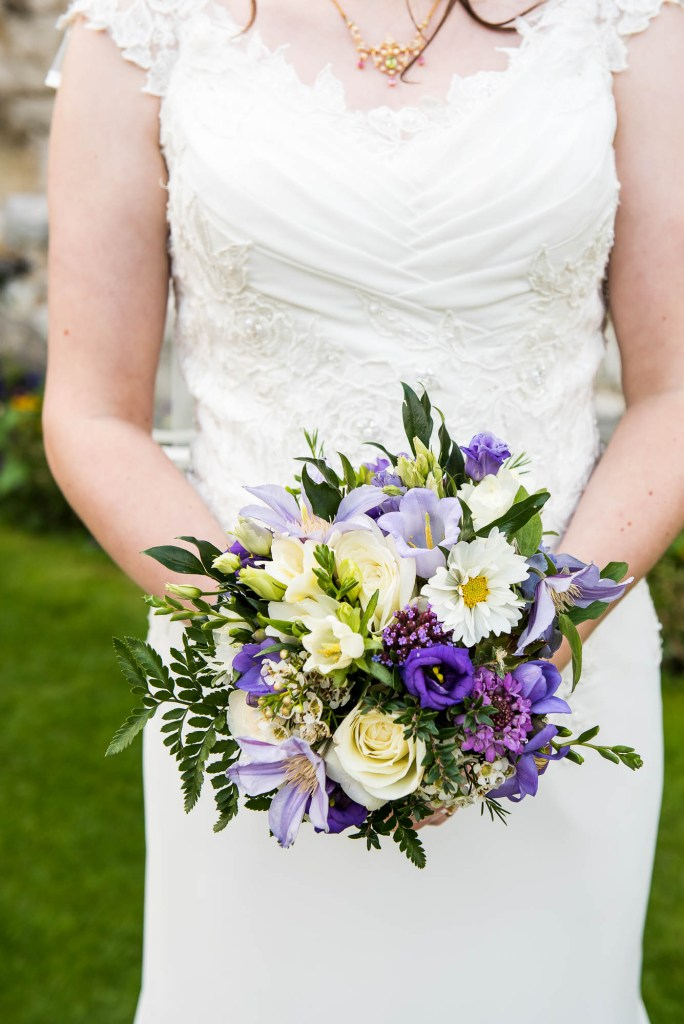 Bouquet of purple, white and green foliage