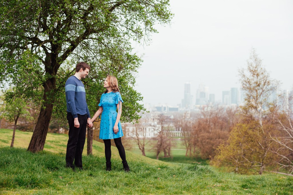 Relaxed engagement photography Greenwich Park