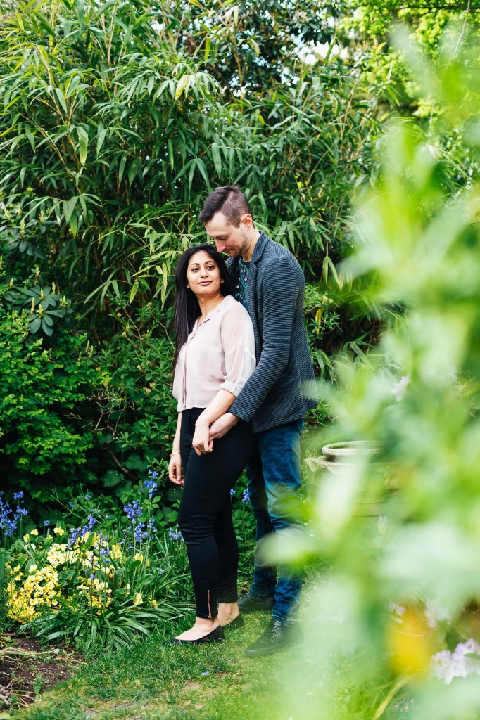 Forty Hall Engagement shoot - engaged couple embrace in gorgeous foliage
