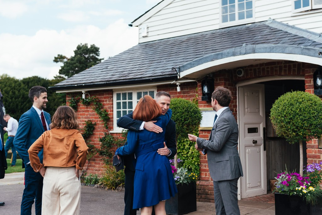 Guests arriving for a mill at elstead wedding