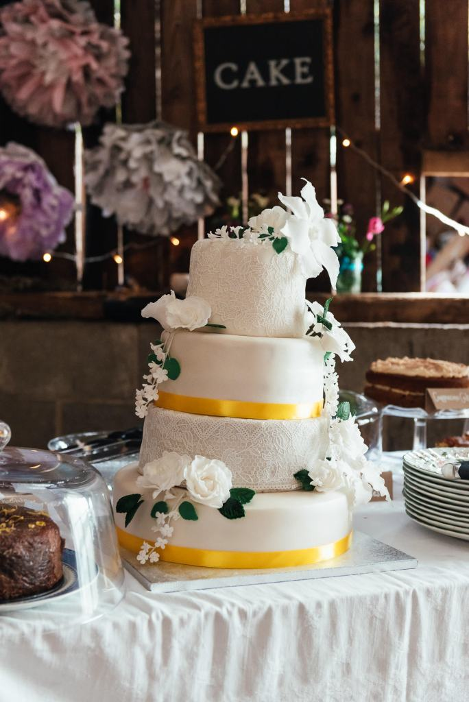 Home made three tier wedding cake
