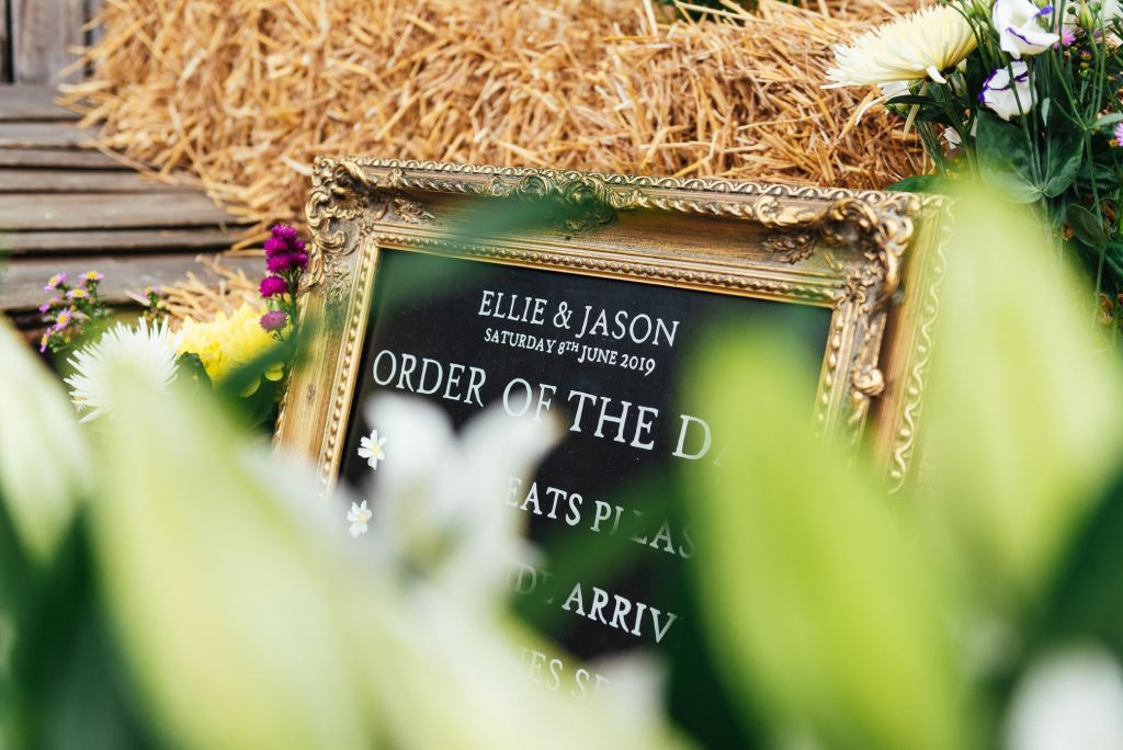 DIY home made order of the day on a rustic black board with gold vintage frame