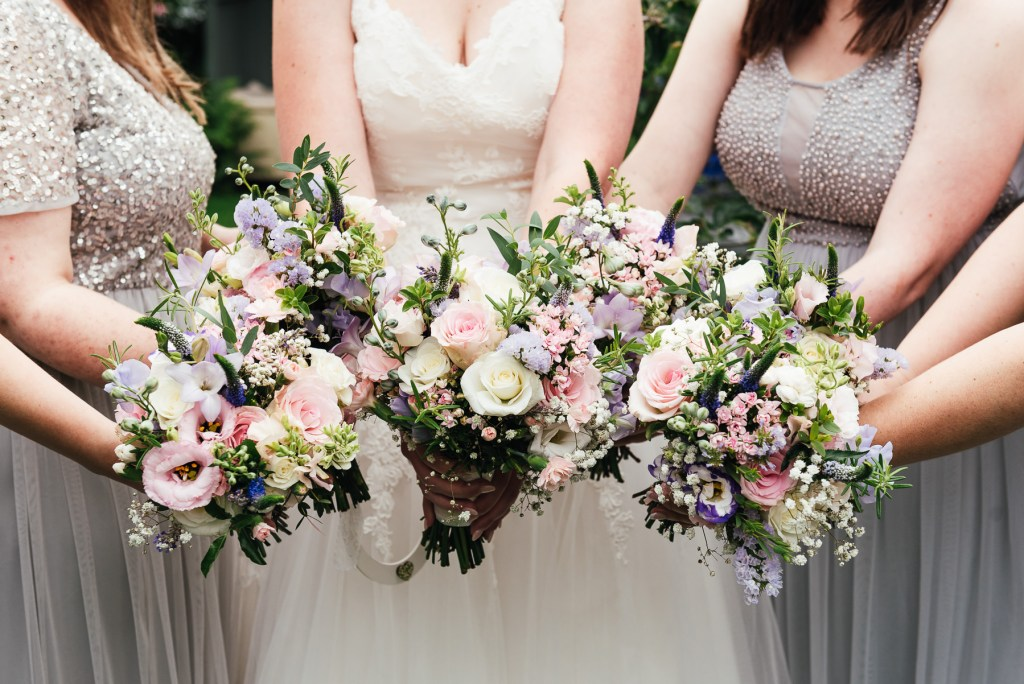 Pastel pink wedding bouquet arrangements