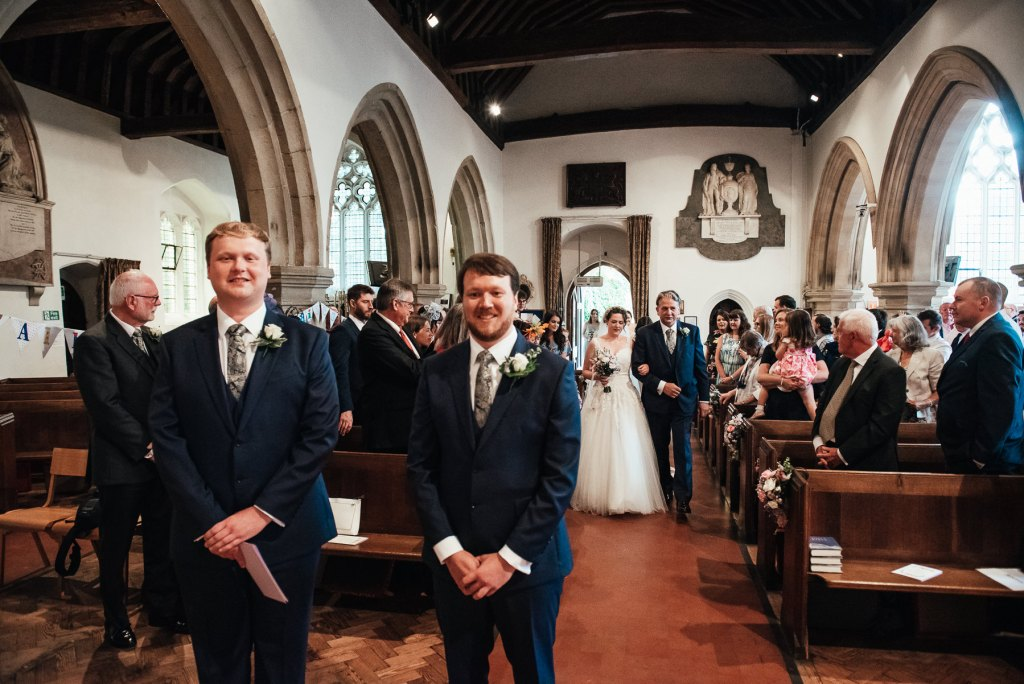 Wedding ceremony in church of Saint Mary The Vigrin, Surrey